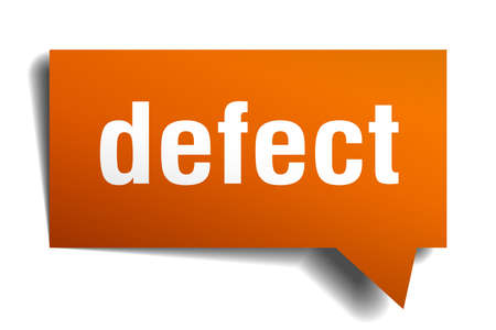 defect orange 3d square isolated speech bubble