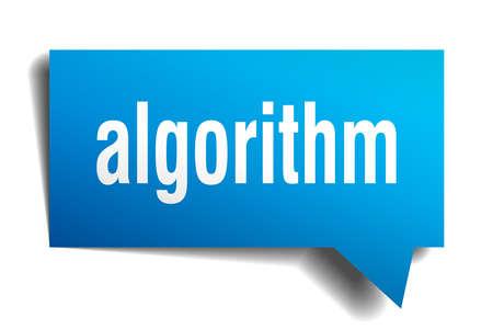 algorithm blue 3d square isolated speech bubble