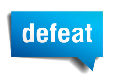 defeat blue 3d square isolated speech bubble