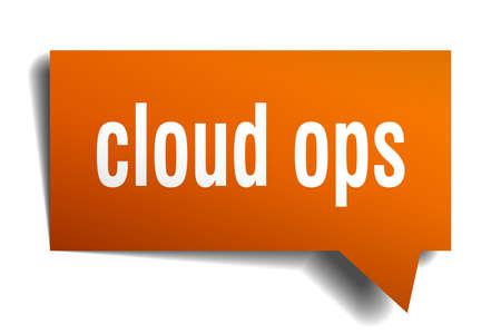 cloud ops orange 3d square isolated speech bubble Illustration
