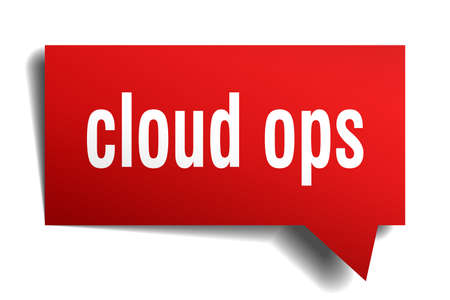 cloud ops red 3d square isolated speech bubble