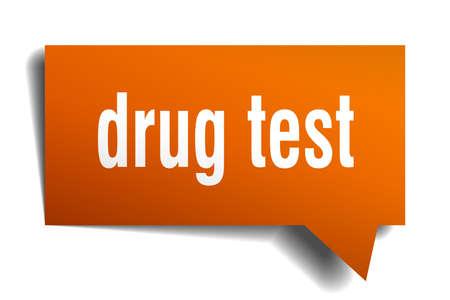 drug test orange 3d square isolated speech bubble Vector illustration.