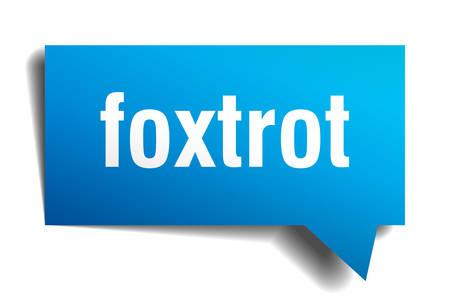 foxtrot blue 3d square isolated speech bubble Vector illustration. Illustration