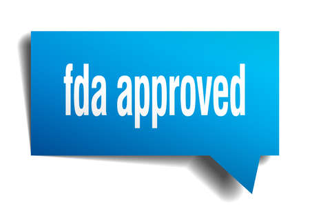 fda approved blue 3d square isolated speech bubble Vector illustration. Illustration