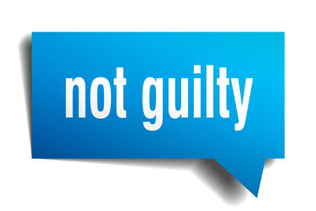 not guilty blue 3d square isolated speech bubble Vector illustration.
