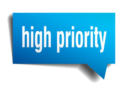 high priority blue 3d square isolated speech bubble Vector illustration. Stock Illustratie