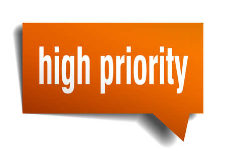 high priority orange 3d square isolated speech bubble Vector illustration. Stock Illustratie