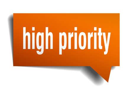 high priority orange 3d square isolated speech bubble Vector illustration. Vettoriali