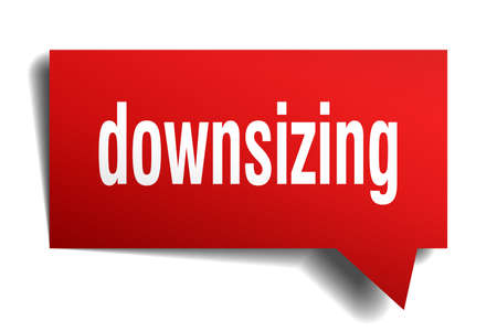 downsizing red 3d square isolated speech bubble