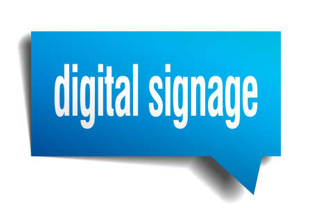 digital signage blue 3d square isolated speech bubble