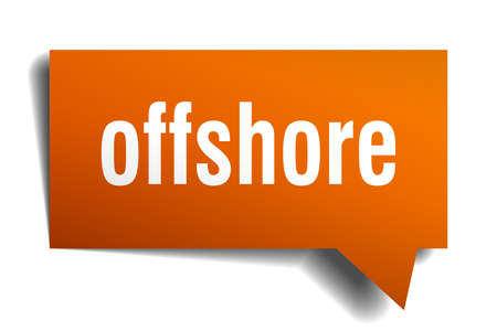 offshore orange 3d square isolated speech bubble