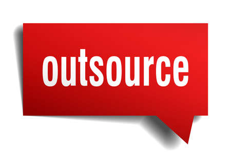 outsource red 3d square isolated speech bubble