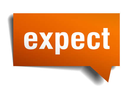 expect orange 3d square isolated speech bubble