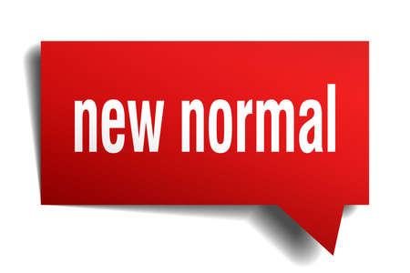 new normal red 3d square isolated speech bubble