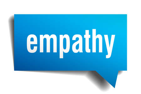 empathy blue 3d square isolated speech bubble