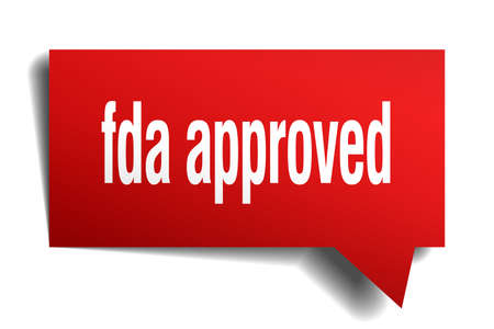 fda approved red 3d square isolated speech bubble
