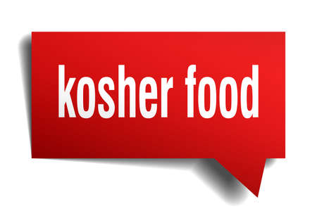 kosher food red 3d square isolated speech bubble