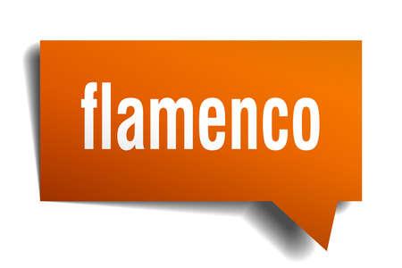 flamenco orange 3d square isolated speech bubble