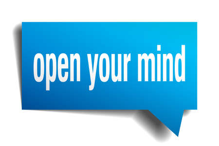 open your mind blue 3d square isolated speech bubble