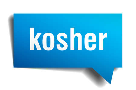 kosher blue 3d square isolated speech bubble