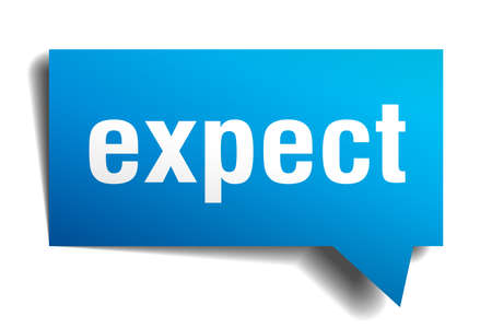 expect blue 3d square isolated speech bubble
