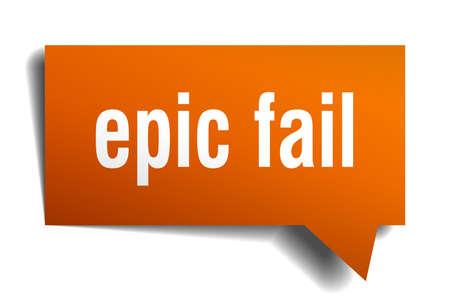 epic fail orange 3d square isolated speech bubble Illustration