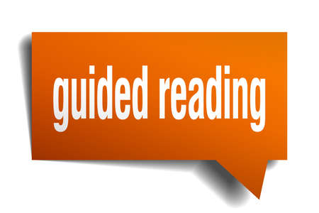 guided reading orange 3d square isolated speech bubble Illusztráció