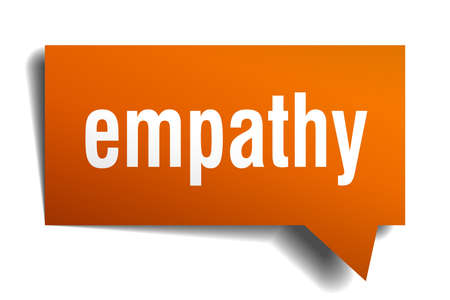 empathy orange 3d square isolated speech bubble