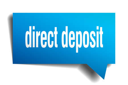direct deposit blue 3d square isolated speech bubble
