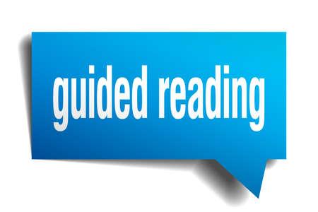 guided reading blue 3d square isolated speech bubble Illusztráció