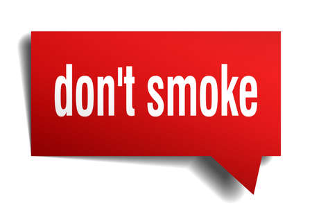 Dont smoke red 3d square isolated speech bubble Stock Illustratie