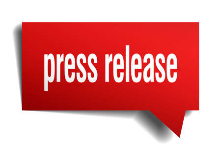 Press release red 3d square isolated speech bubble