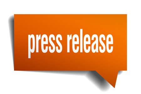Press release orange 3d square isolated speech bubble