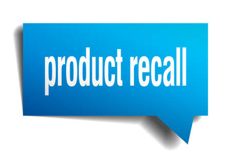 Product recall blue 3d square isolated speech bubble