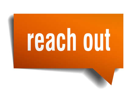 Reach out orange 3d square isolated speech bubble 向量圖像