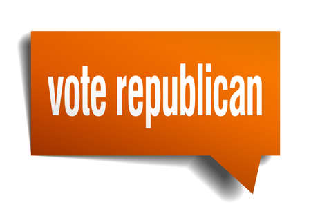 Vote republican orange 3d square isolated speech bubble