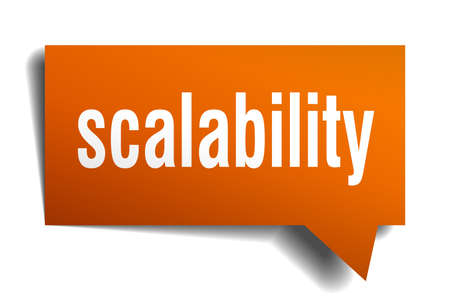 Scalability orange 3d square isolated speech bubble
