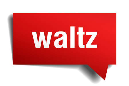 Waltz red 3d square isolated speech bubble Illustration