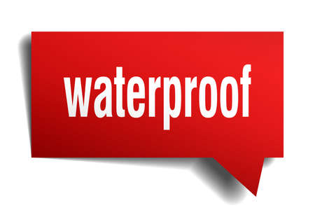 Waterproof red 3d square isolated speech bubble