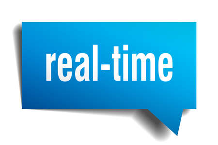 Real-time blue 3d square isolated speech bubble Vectores