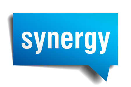 Synergy blue 3d square isolated speech bubble