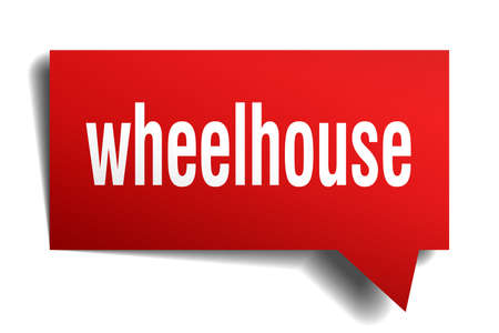 Wheelhouse red 3d square isolated speech bubble
