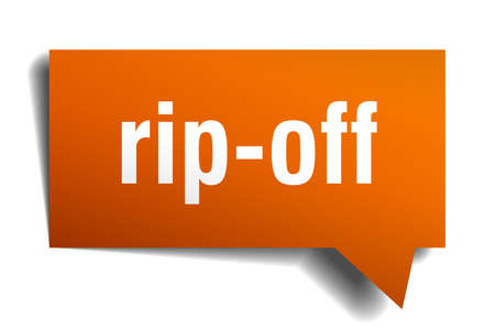 Rip-off orange 3d square isolated speech bubble