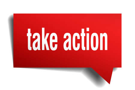Take action red 3d square isolated speech bubble