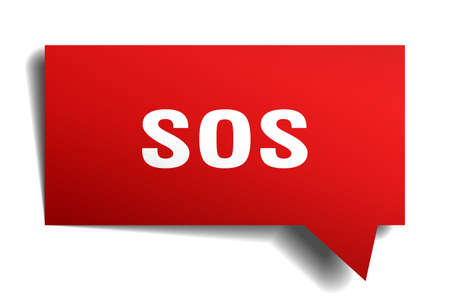 SOS red 3d square isolated speech bubble