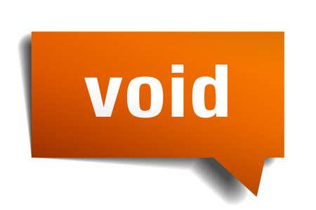 Void orange 3d square isolated speech bubble