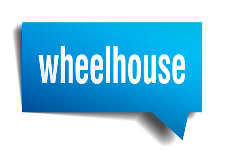 Wheelhouse blue 3d square isolated speech bubble Illustration