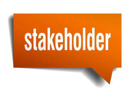 Stakeholder orange 3d square isolated speech bubble