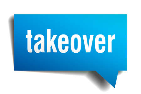 Takeover blue 3d square isolated speech bubble Illustration