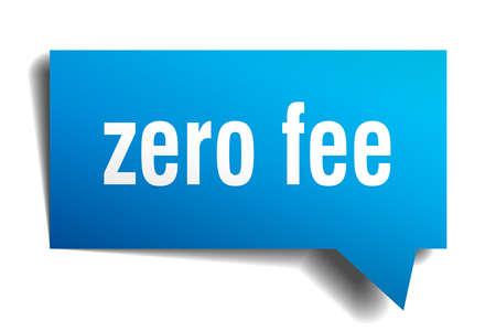 A zero fee blue 3d square isolated speech bubble Çizim